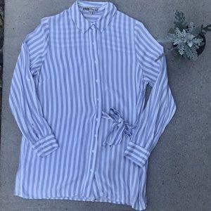 Gypsies & moondust striped side tie button down